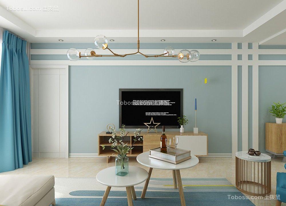 客厅蓝色电视柜北欧风格装潢设计图片