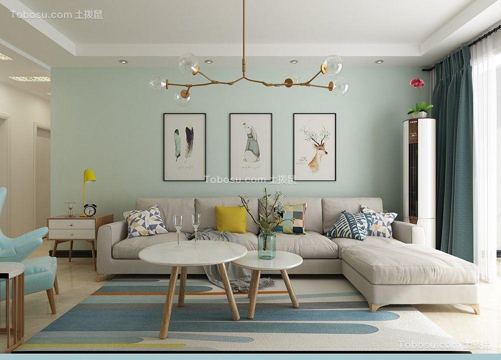 客厅绿色背景墙北欧风格效果图