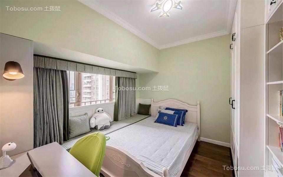卧室绿色背景墙简欧风格装修设计图片