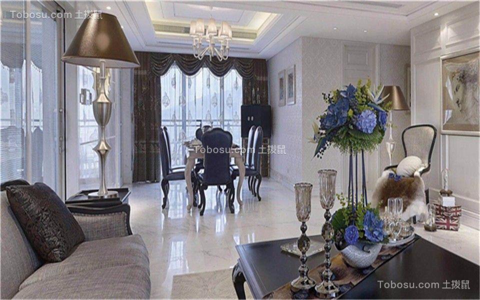 120㎡汇丰丽城法式风格三居室装修效果图