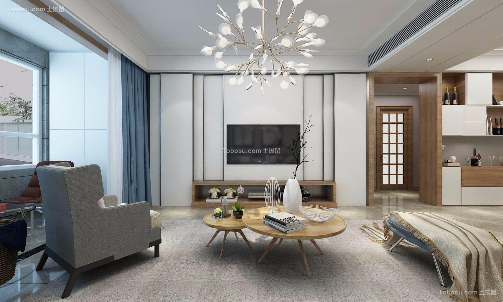雅居乐北欧风格98平两居室装修效果图