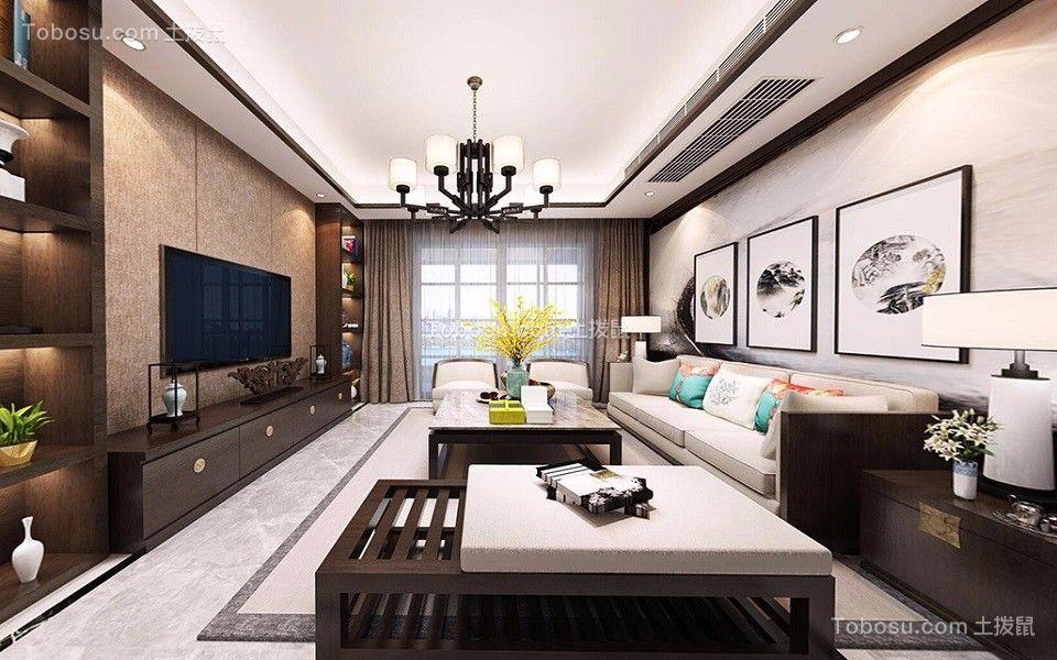 保利香槟国际110㎡新中式三居室装修效果图
