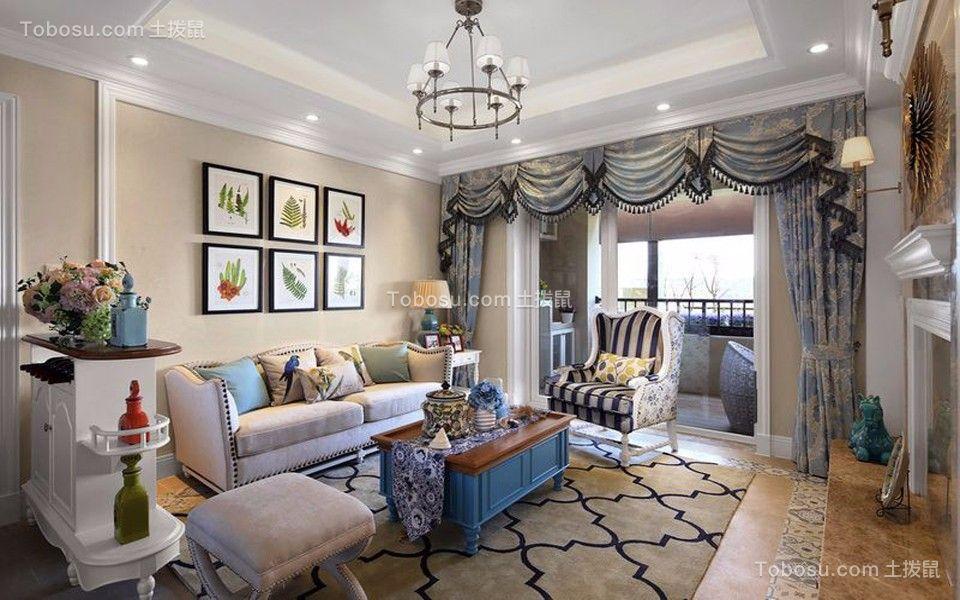 客厅蓝色茶几地中海风格装饰效果图
