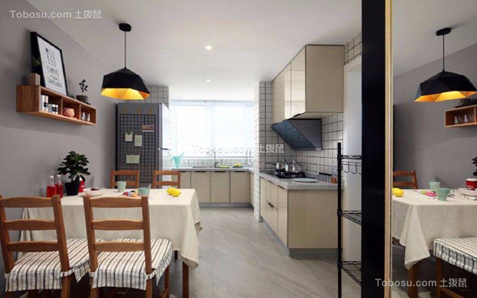 厨房黄色橱柜北欧风格装修图片