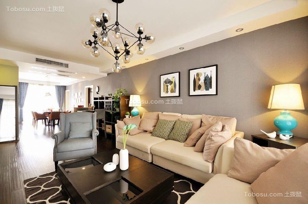 北大资源燕南美式风格105平三居室装修效果图