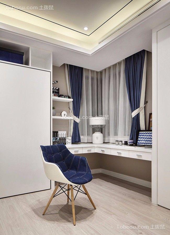 书房白色书桌简约风格装潢设计图片