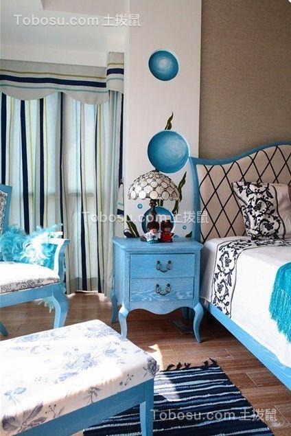 卧室紫色床头柜地中海风格装饰效果图