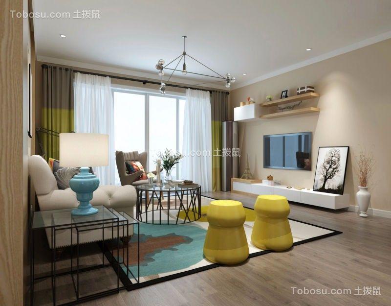 客厅黄色电视柜北欧风格装潢效果图