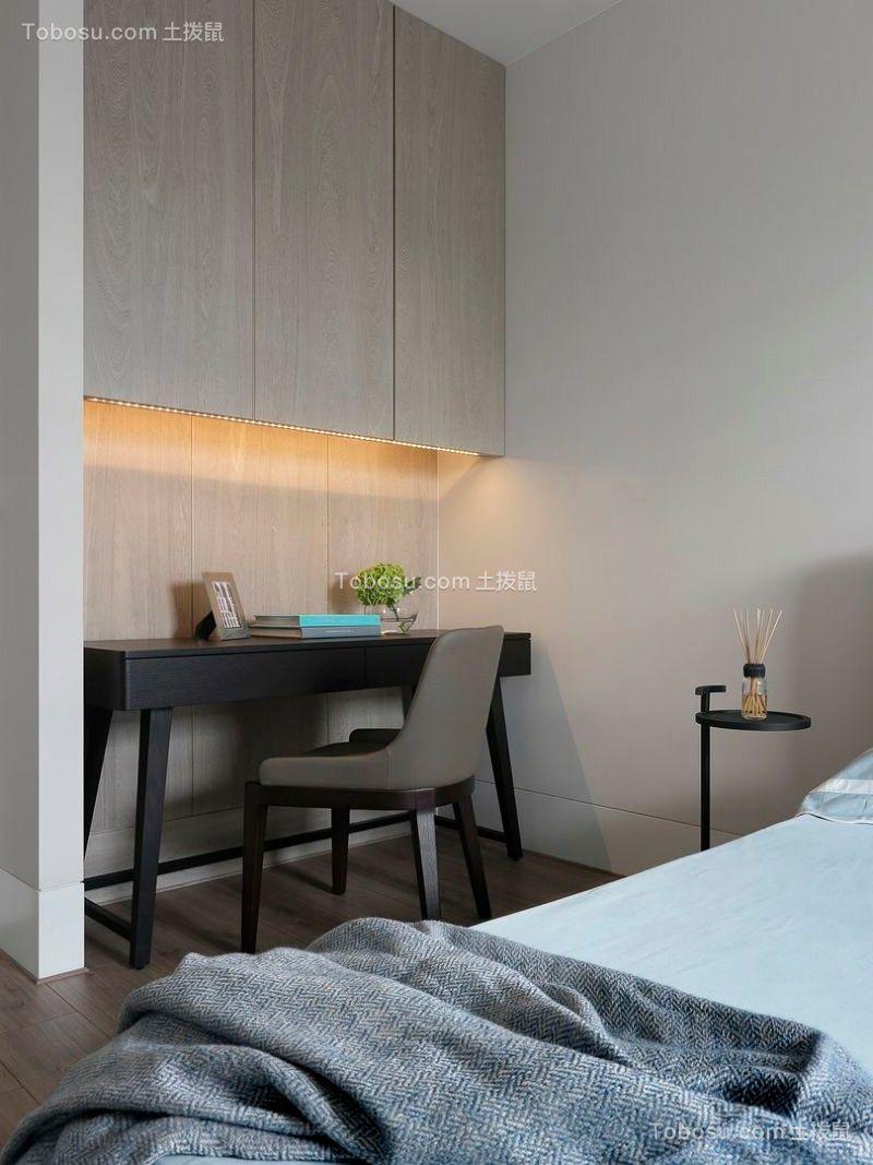 书房灰色书桌现代简约风格装修设计图片