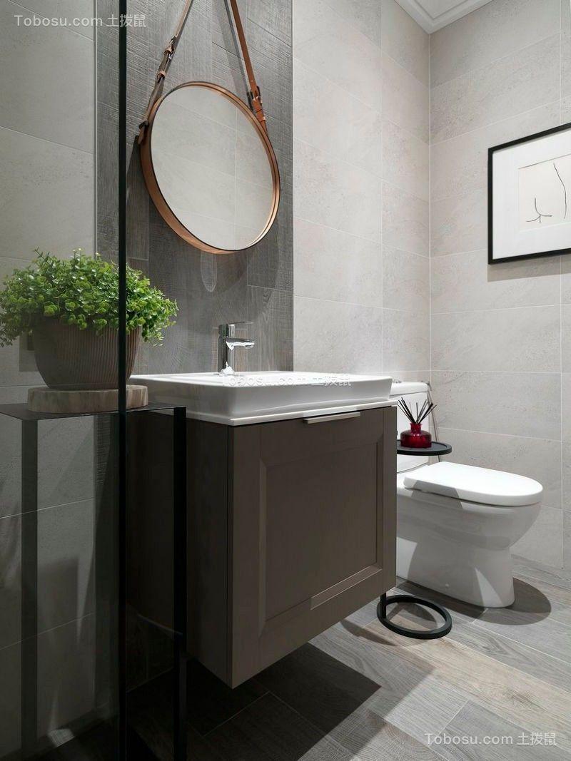 卫生间灰色洗漱台现代简约风格效果图