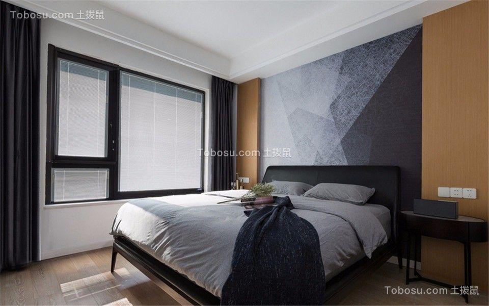 卧室黑色背景墙现代简约风格装修图片