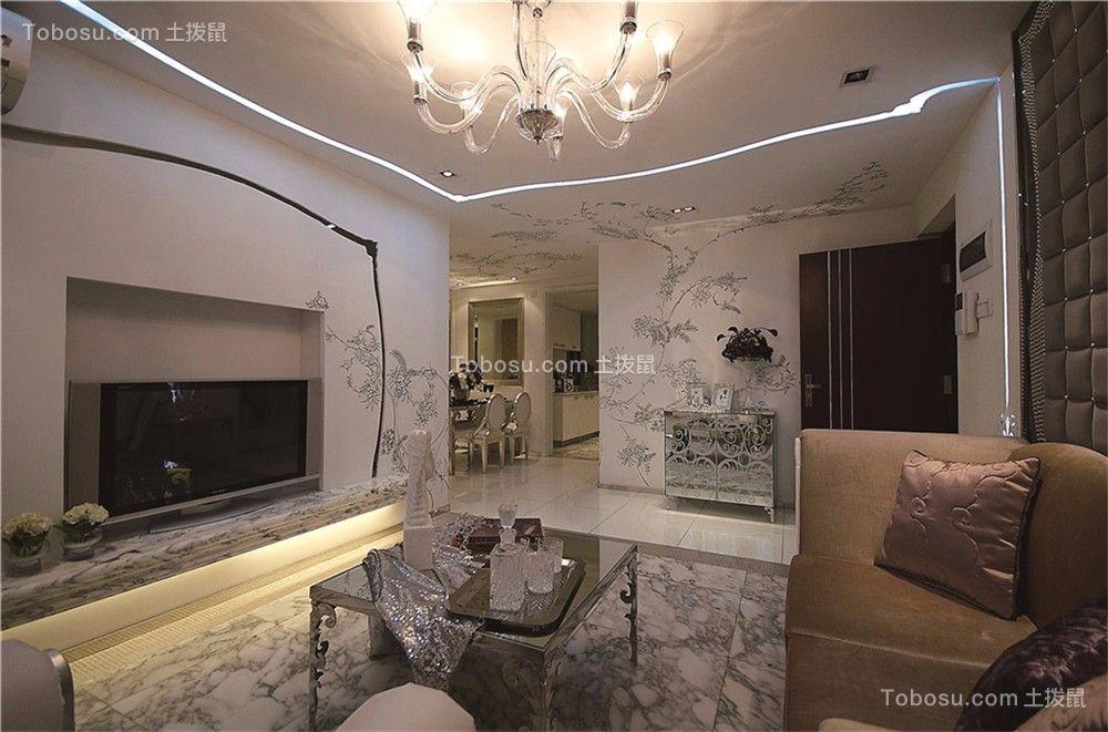 九龙花园欧式风格98平三居室装修效果图