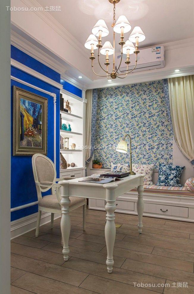 书房白色书桌地中海风格效果图