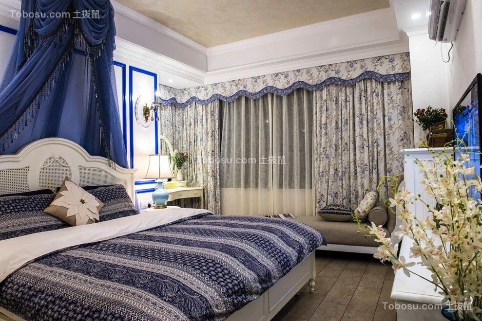 卧室蓝色床地中海风格装修效果图