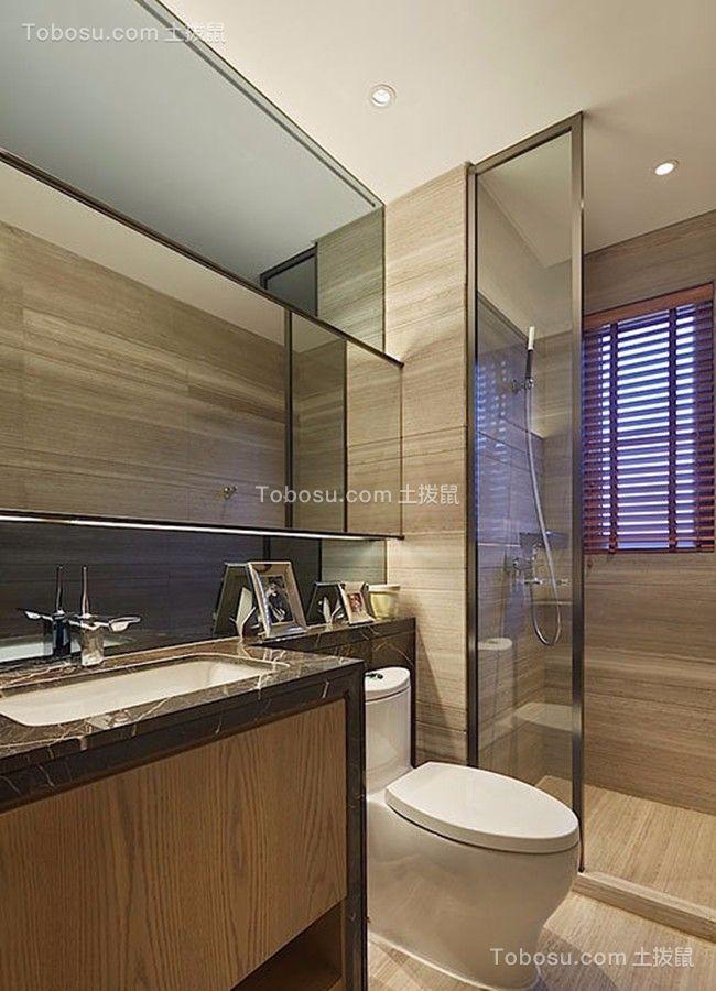 卫生间白色洗漱台现代简约风格装潢设计图片