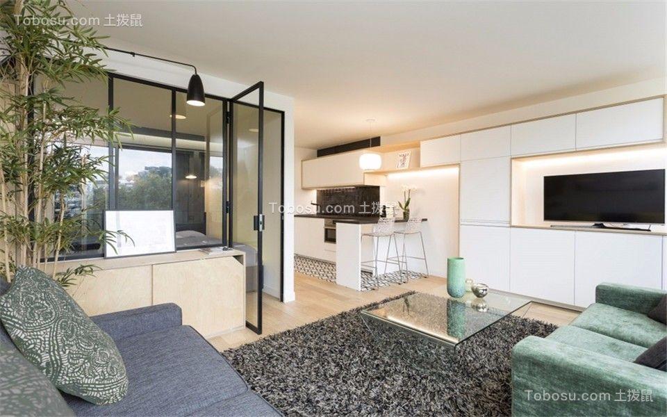 现代简约风格50平米一室一厅新房装修效果图