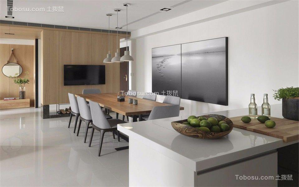 餐厅白色背景墙简欧风格装潢设计图片