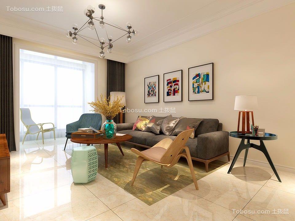 客厅灰色沙发现代简约风格装修设计图片