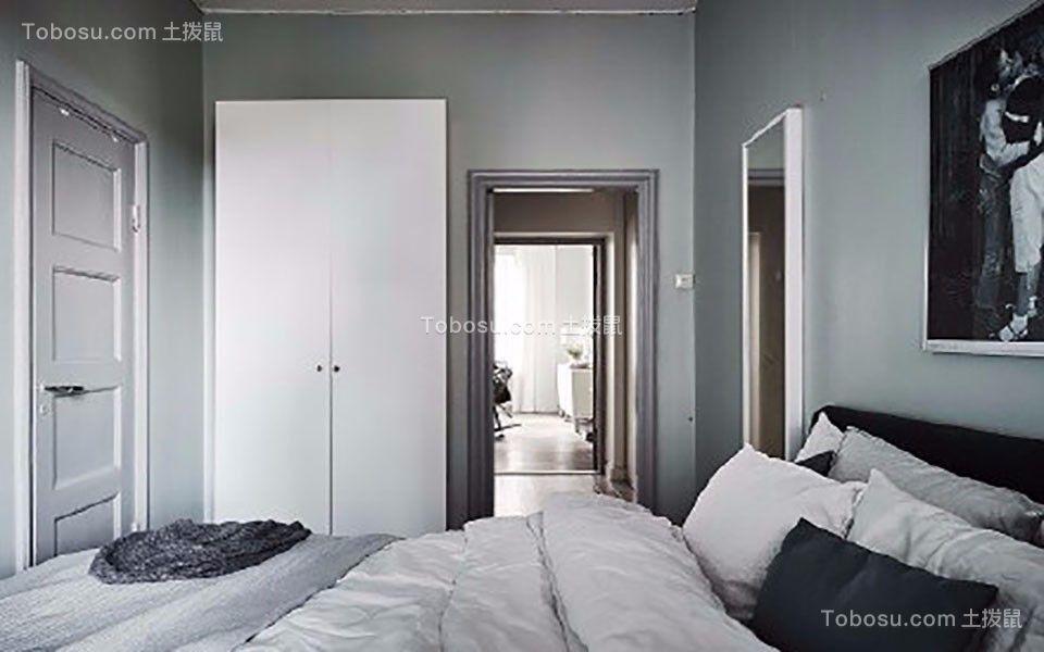 卧室蓝色背景墙北欧风格装修设计图片