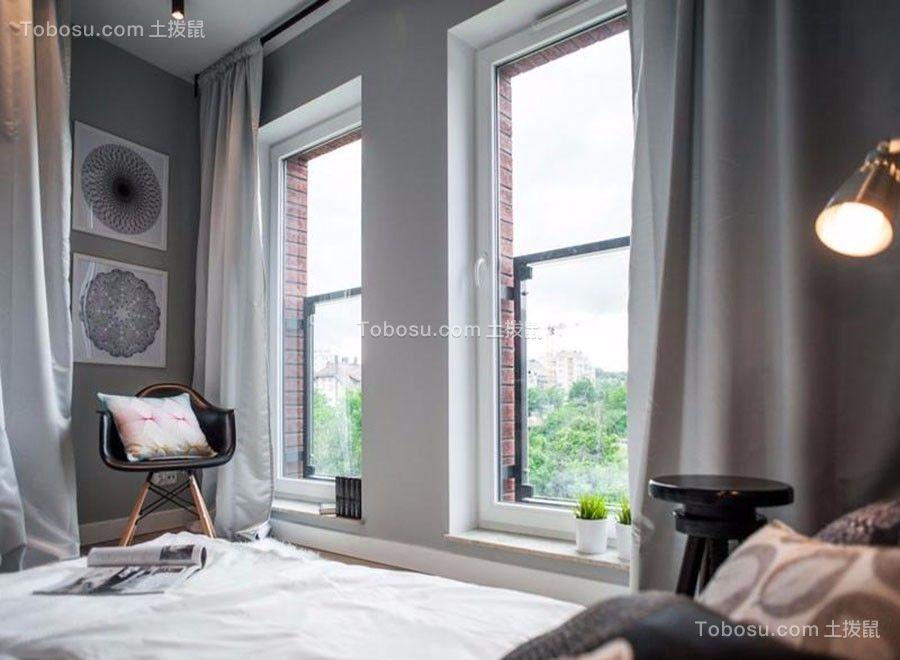 卧室灰色窗帘北欧风格装潢设计图片