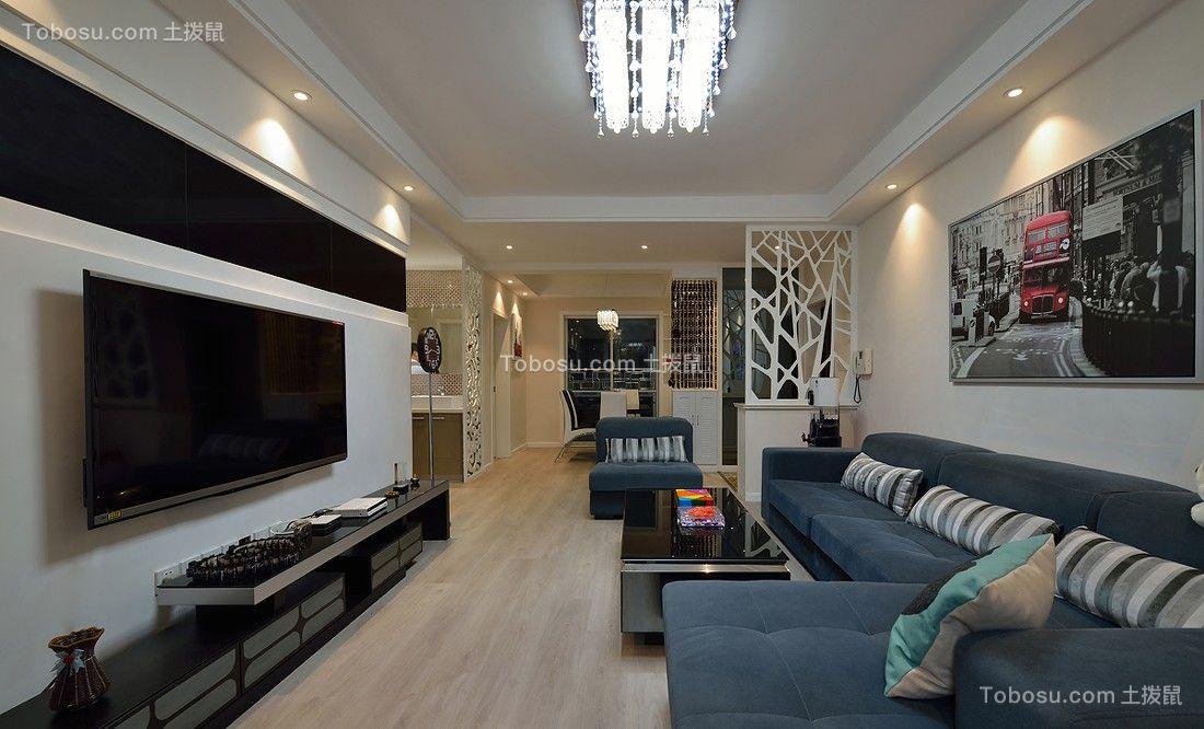 客厅黑色电视柜现代简约风格装饰图片