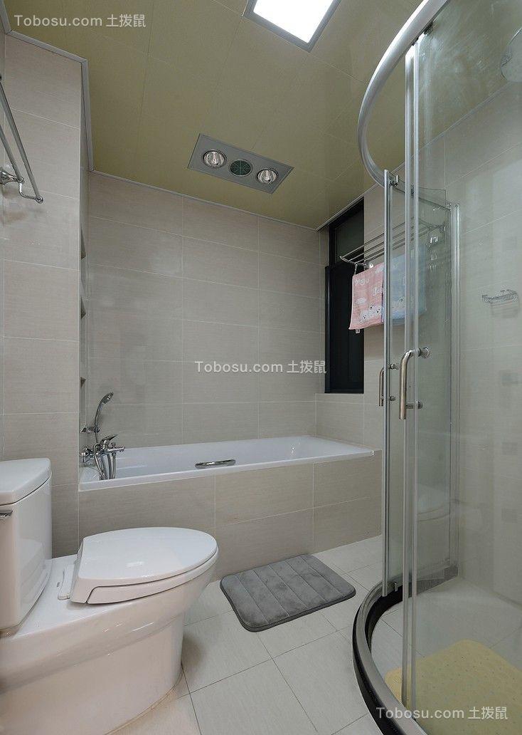 浴室白色浴缸现代简约风格效果图