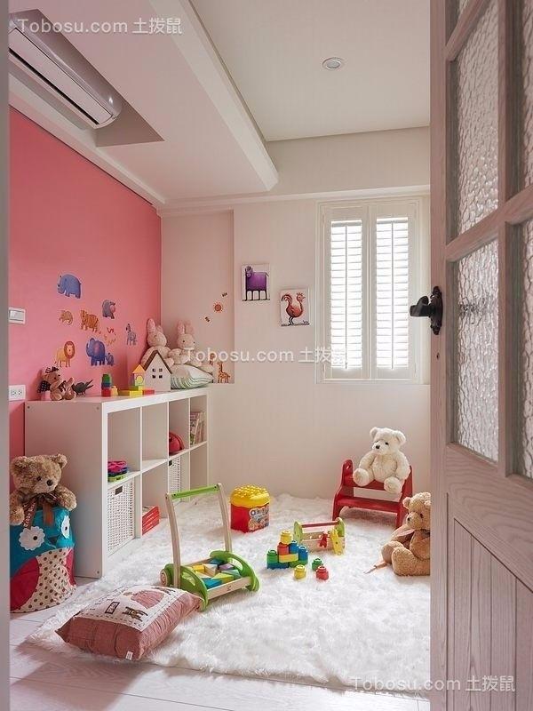 儿童房粉色背景墙地中海风格效果图