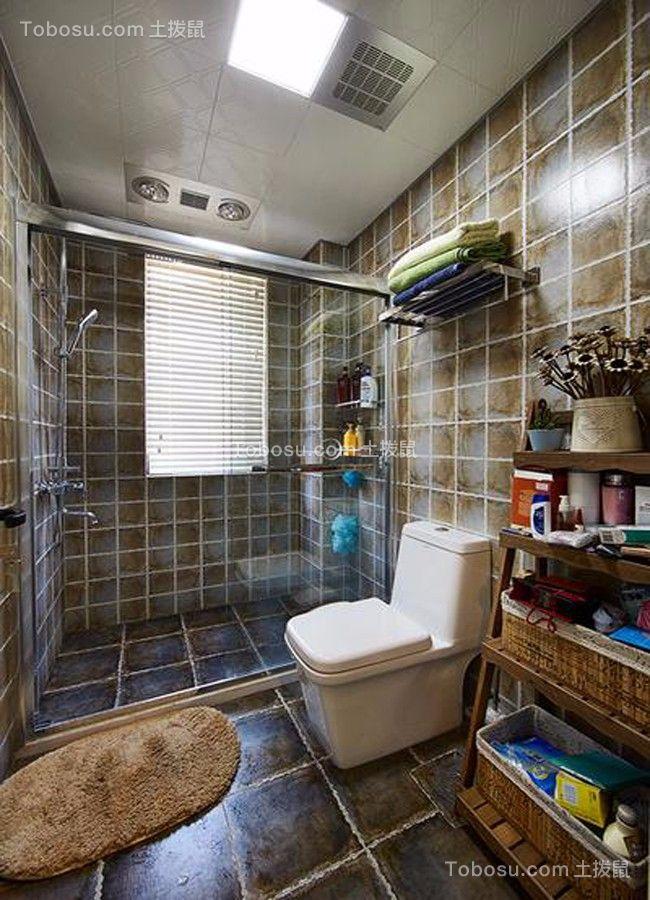 卫生间白色地板砖美式风格效果图