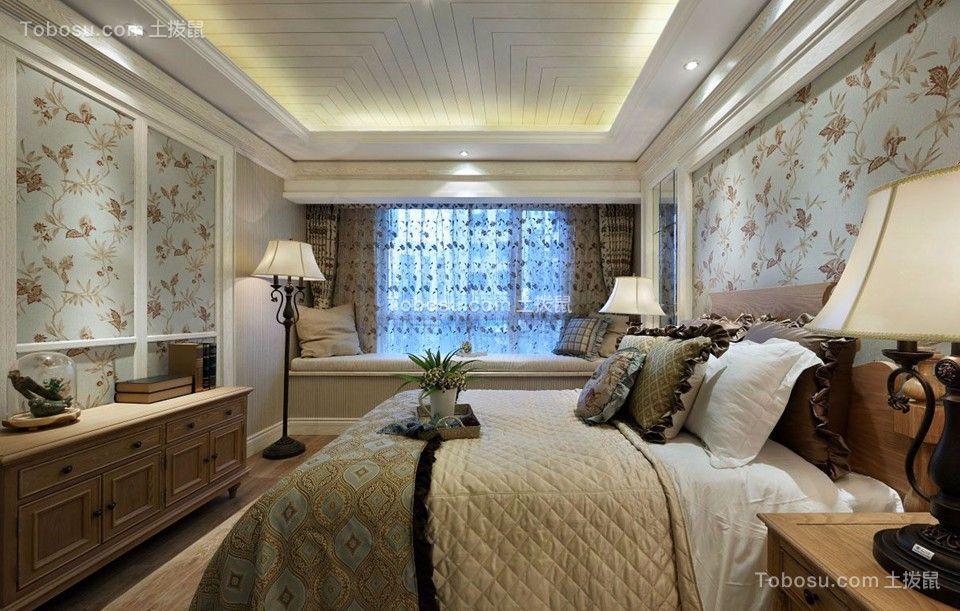 卧室米色书桌地中海风格装潢图片