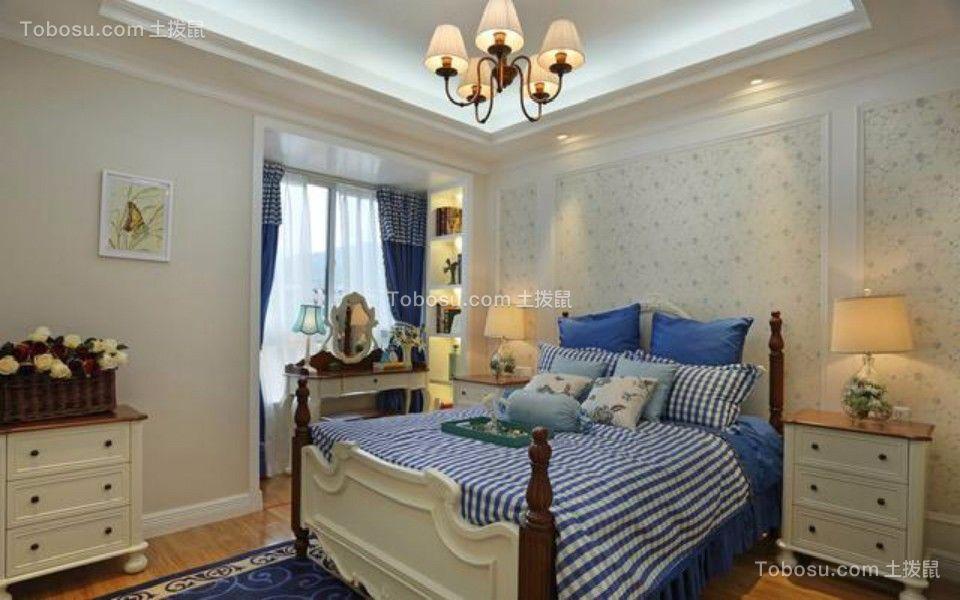 卧室蓝色床地中海风格装修图片