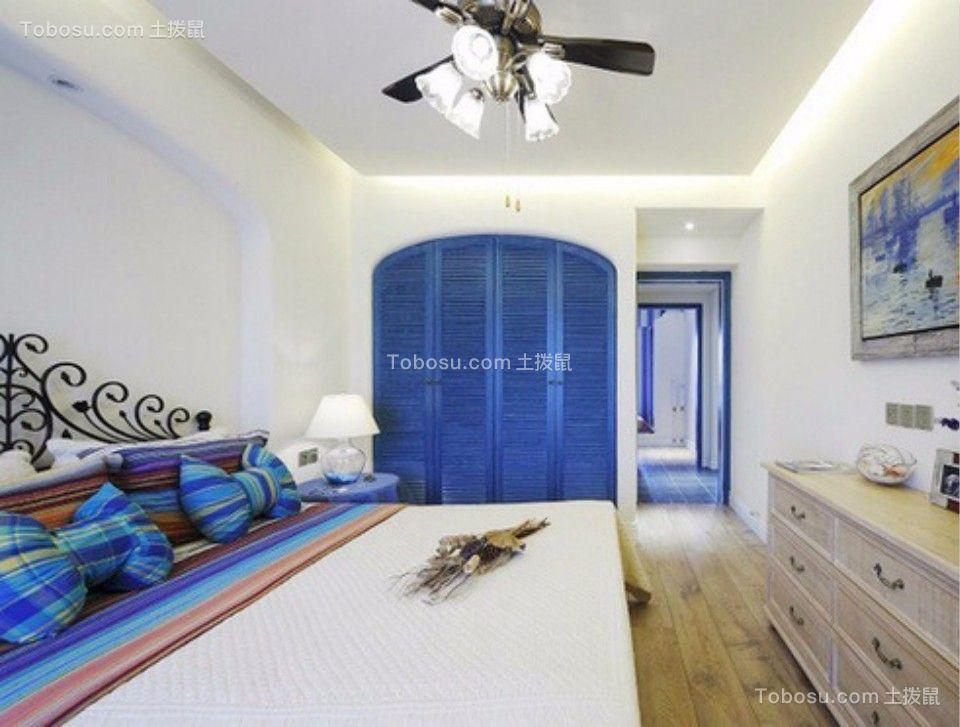 卧室蓝色衣柜地中海风格装潢设计图片