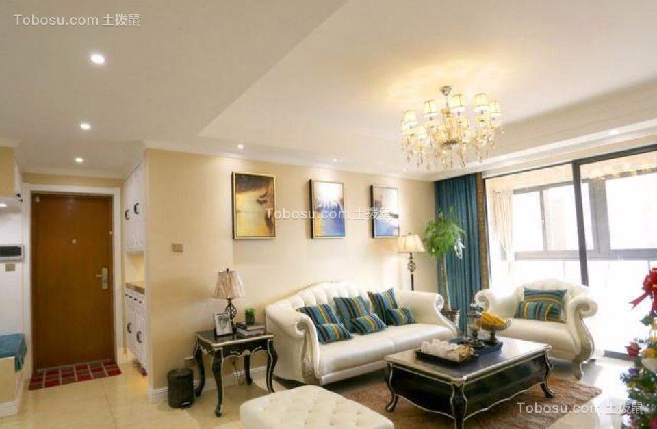 混搭风格96平米两室两厅新房装修效果图