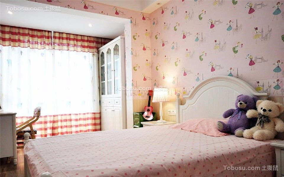 卧室粉色窗帘新中式风格装修设计图片