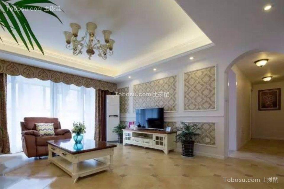 客厅咖啡色电视柜简欧风格装饰设计图片