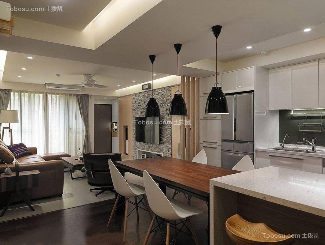 盘龙壹号现代风格98平三居室装修效果图