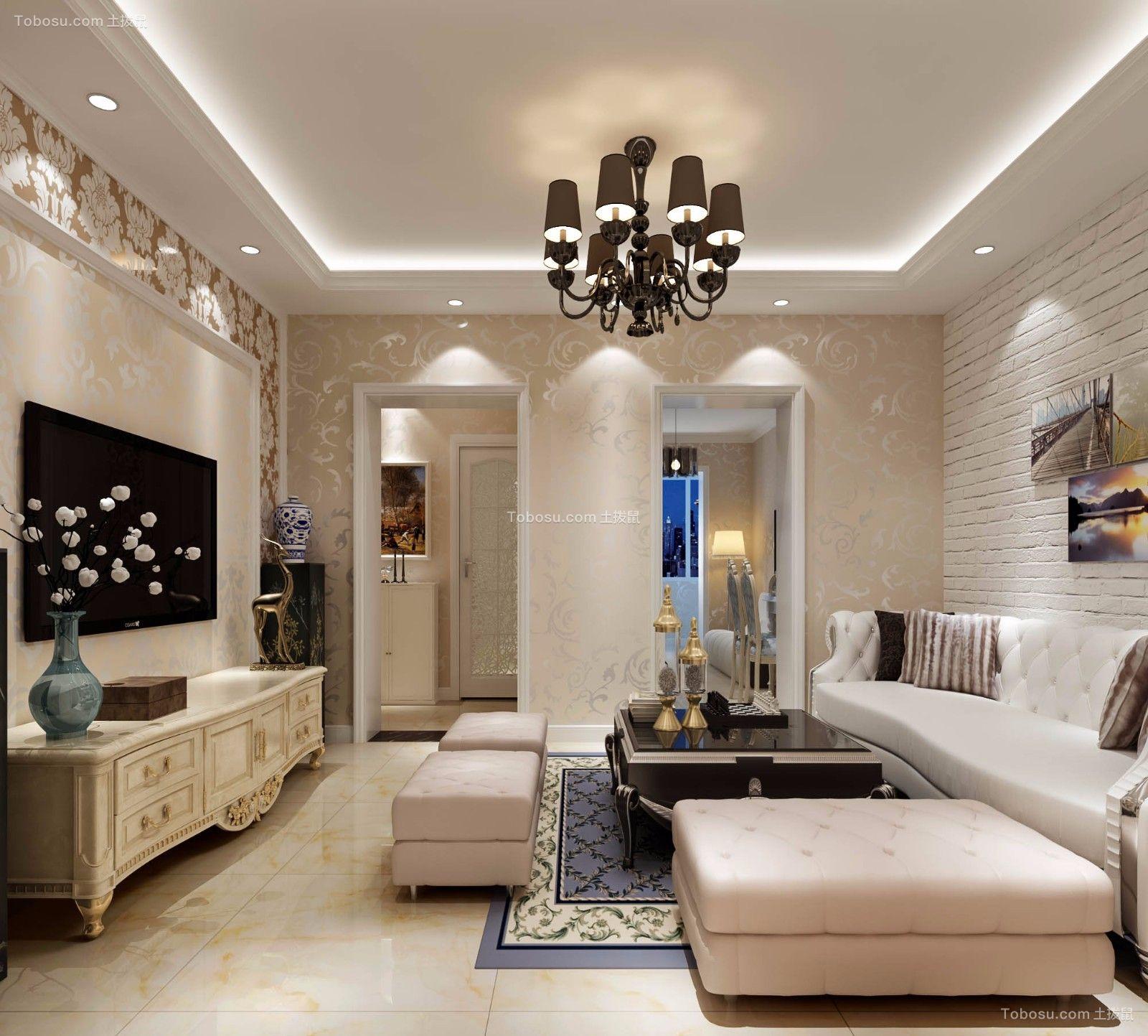 客厅白色隔断简欧风格装修设计图片