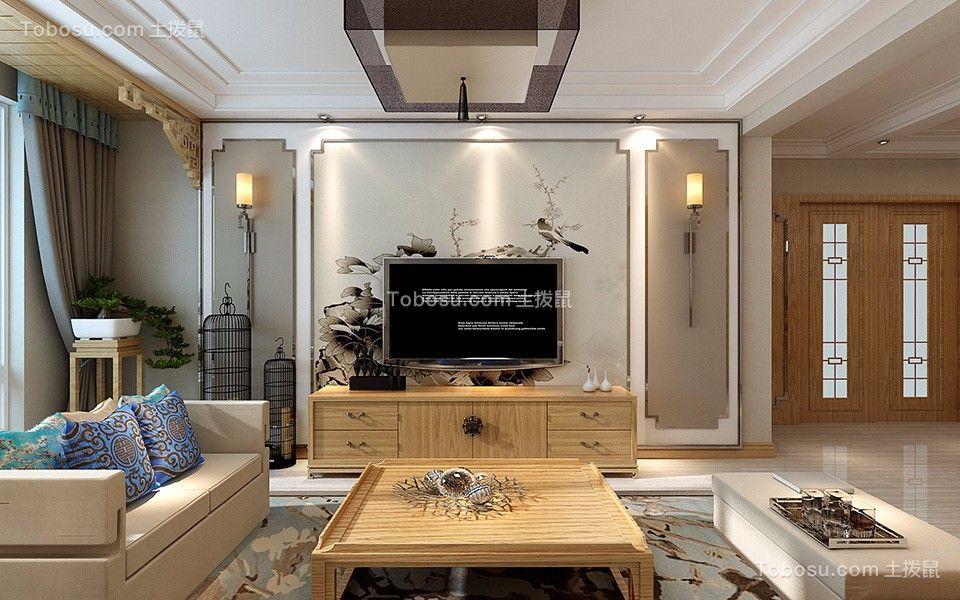 融创春晖十里新中式风格115平三居室装修效果图