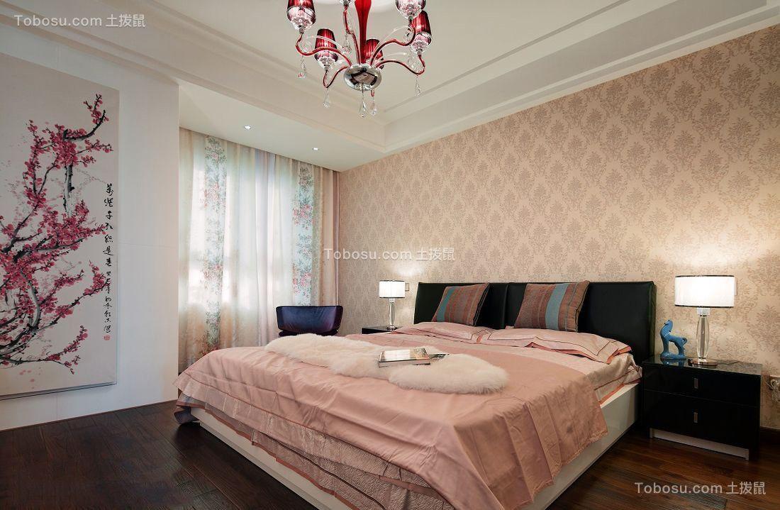 卧室米色床中式风格装饰图片