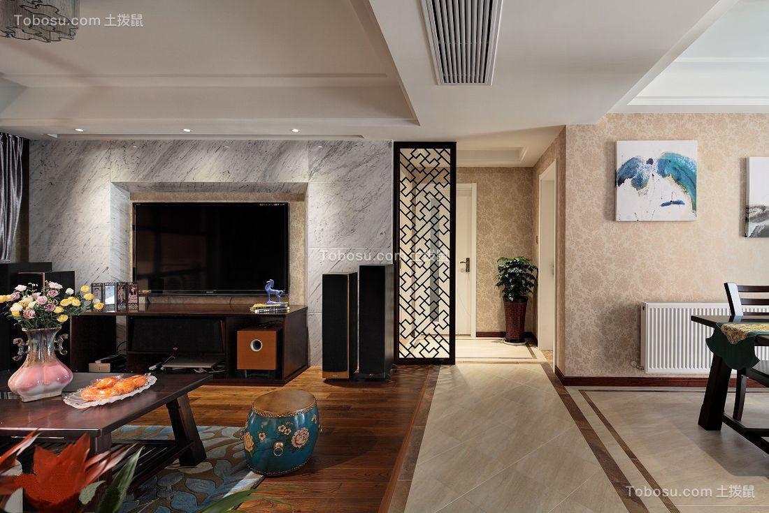 客厅咖啡色地板砖新中式风格装潢设计图片