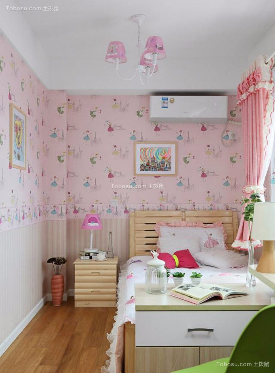 儿童房粉色床日式风格装修图片