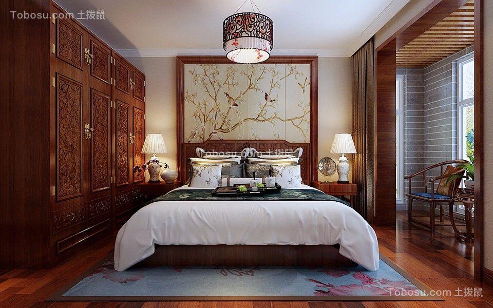 卧室咖啡色床中式风格装修图片