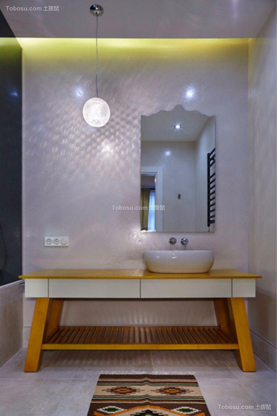 卫生间黄色洗漱台现代简约风格装潢图片
