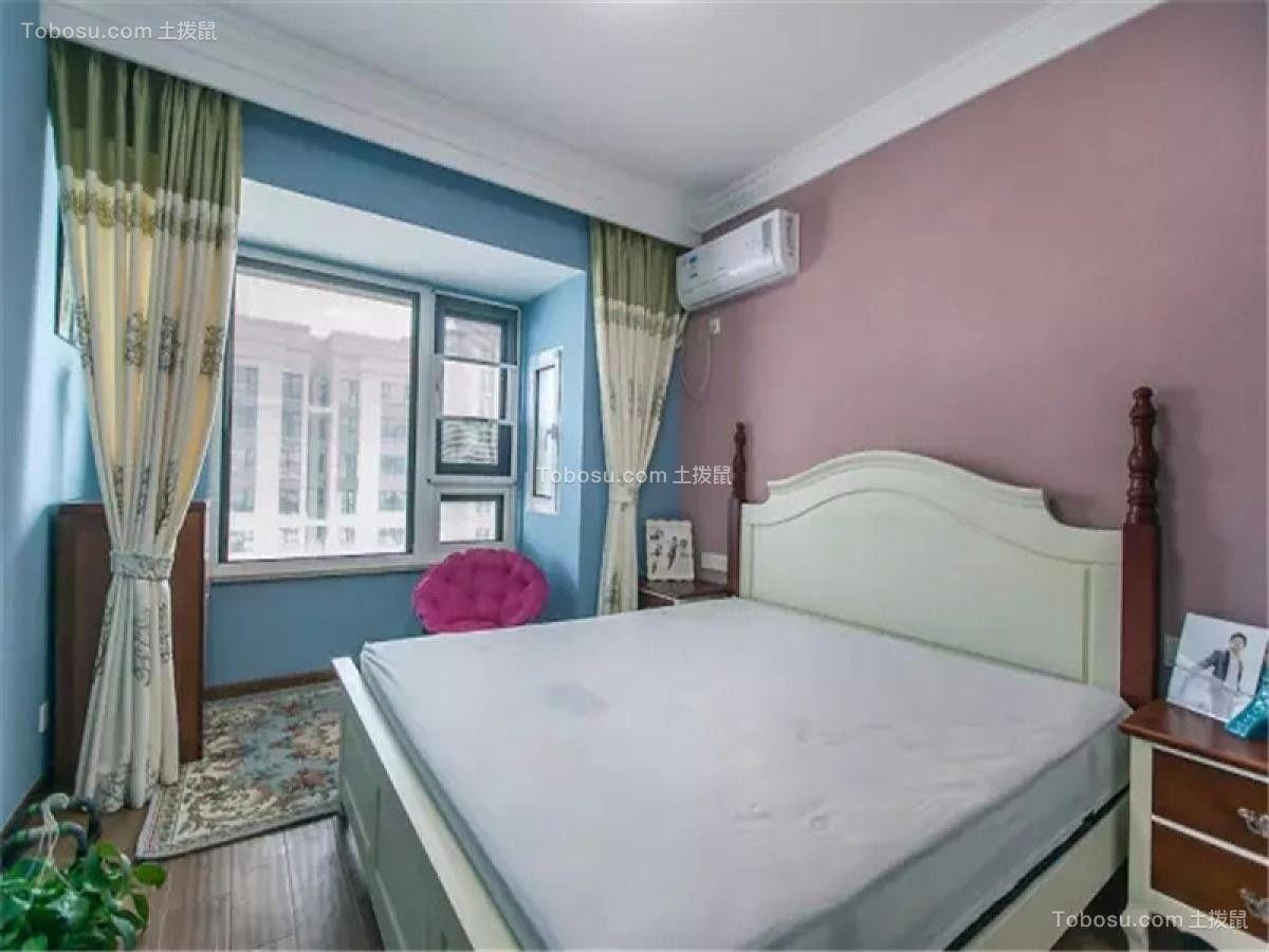 卧室蓝色窗台美式风格装潢图片