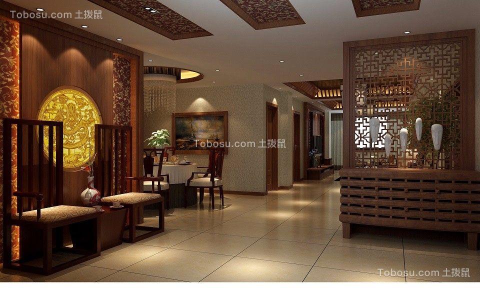 中式风格140平米四室两厅新房装修效果图