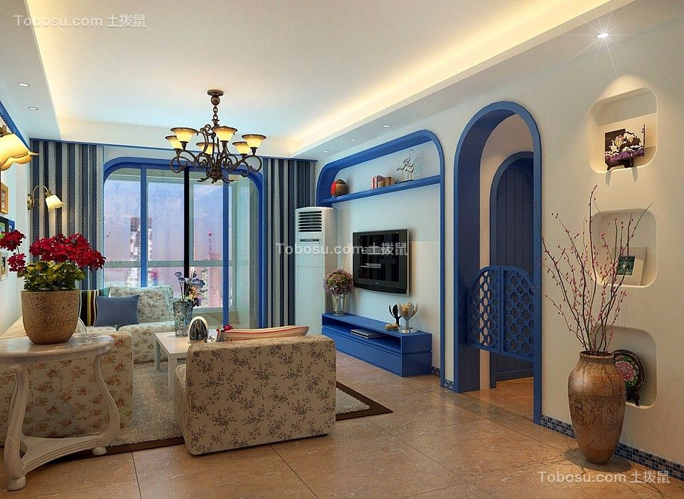地中海风格80平米两房两厅新房装修效果图