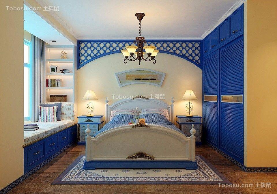 卧室绿色背景墙地中海风格装修设计图片