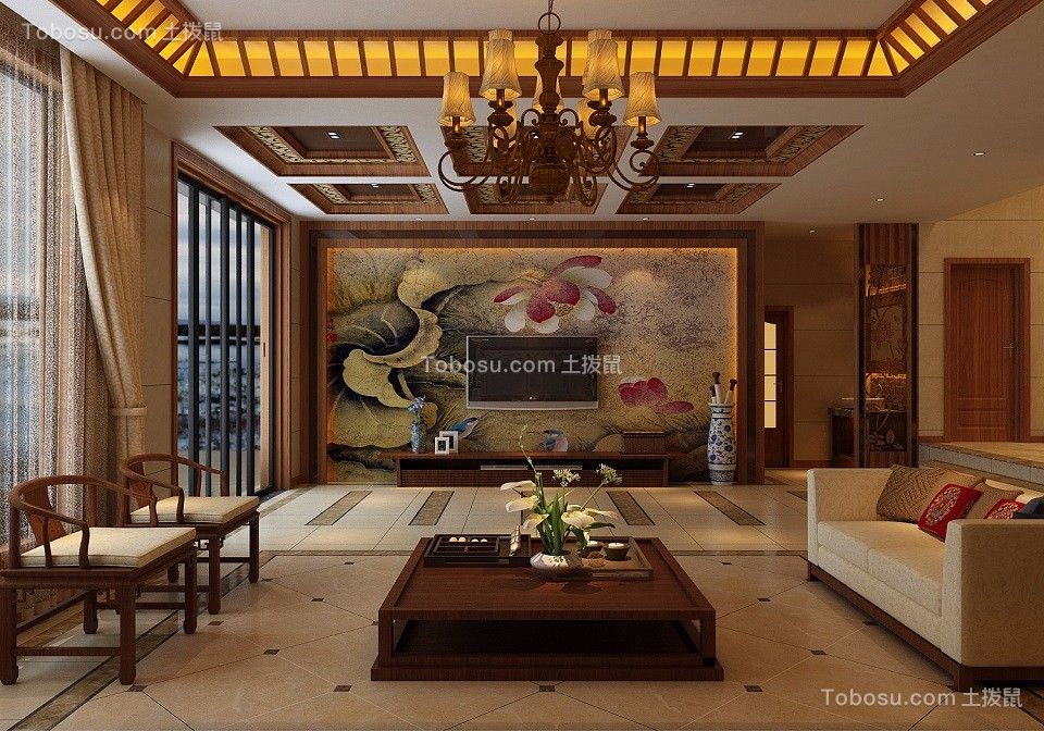中式风格500平米别墅新房装修效果图