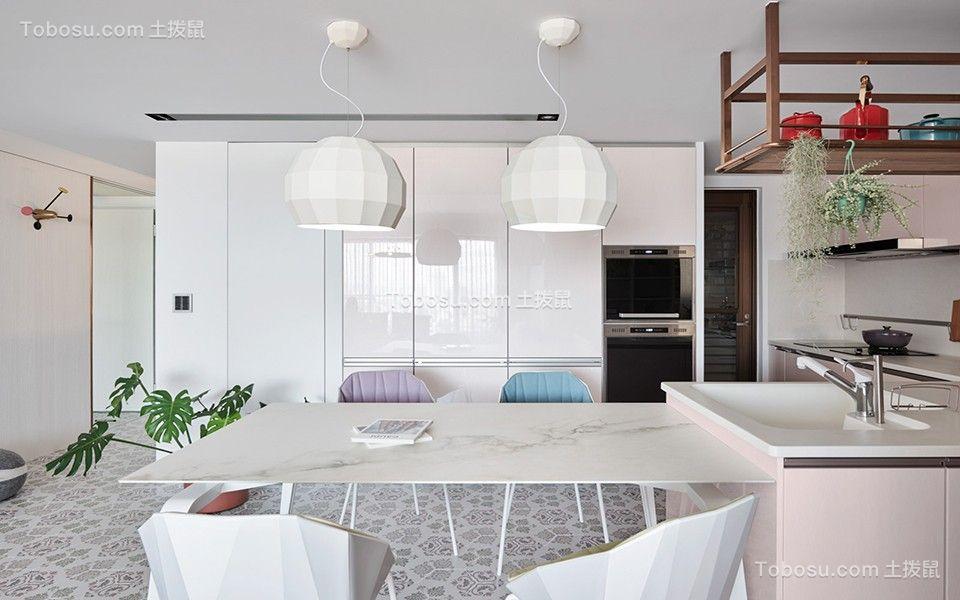 餐厅白色灯具现代简约风格装潢设计图片
