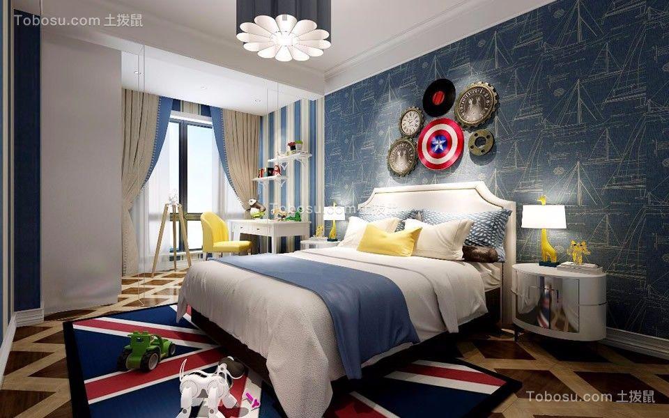 卧室蓝色床现代简约风格装潢设计图片