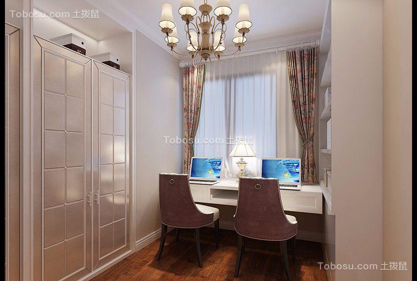 书房白色书桌简欧风格装饰设计图片